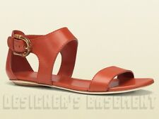 GUCCI orange 39 Leather NADEGE bold BAMBOO buckle flat sandals NIB Authentic!