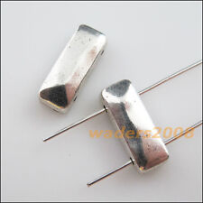 12 New Charm Tibetan Silver 2-Hole Rectangle Spacer Bar Beads Connector 7x17.5mm