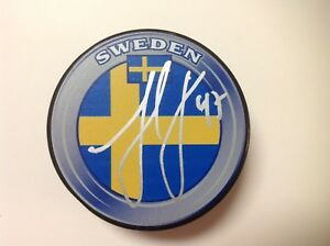 Hampus Lindholm Signed Autographed Team Sweden Hockey Puck Go Ducks a