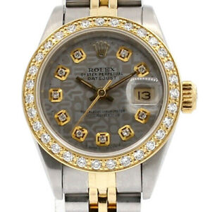 Ladies ROLEX Oyster Perpetual Gold & Steel Datejust Silver Jubilee Dial Diamond