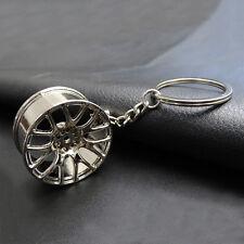 1pc Car Metal Keychain Silvery Cool Luxury Key Chain Wheel Pendant Key Ring