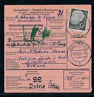 89599) Auslands - Postanweisung Heuss, 50PF EF Peine - Niederlande