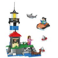 376pcs City Lighthouse Model Building Blocks with Figures Boat Toys Bricks Gifts
