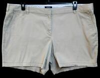 Lands' end beige front pockets hook closure women's spandex stretch shorts 26W