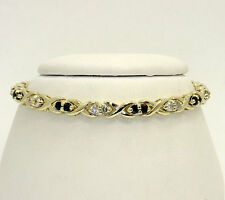 "Diamond sapphire kiss ""X"" bracelet 14K yellow gold round brilliant 2.00CT 16.8GM"