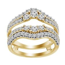 Guard Engagement Ring 14K Yellow Gold Over 2 Ct Round Cut Diamond Enhancer Wrap