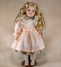 "Collector's Porcelain Girl Doll 17"" Blond Hair With Curls Blue Eyes Plus Stand"