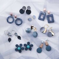 Fashion Woman Blue Gray Series Earrings Geometric New Personality Stud Jewelry