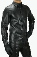Mens Genuine Real Black Sheep Leather Police Uniform Shirt BLUF Gay Full Sleeves