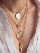 Women Multilayer Punk Gold Angel Wing Arrow Collare Pendant Chain Charm Necklace