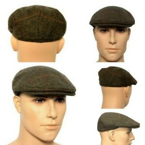 Quality Men's Flat Cap Brown Over Check Tweed 80% Wool Size 58-59cm
