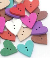 Cute Heart Buttons 2.4cm 10 Pieces - Mixed Colours Australian Seller