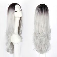 """Popular Black Mixed Grey 26"""" Wavy Heat Resistant Women Hair Deluxe Wig"""
