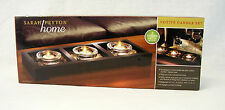 Sarah Peyton Votive Candle Set with Wood Tray, Candles, Holders, River Rocks NEW