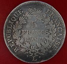 FRANCE 5 FRANCS UNION ET FORCE L'AN 7 L ARGENT