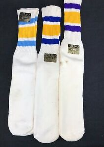 Vintage Orlon Tube Sock Lot 3 Deadstock Rockford 70s 9-17 Blue Purple Gold OTC