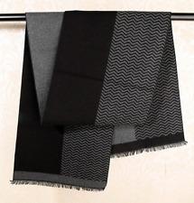 100% Silk brushed nap Scarf men Women Shawl Wrap striped black gray thick QS72-3