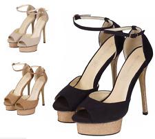 Damen Peeptoe Riemchen Plateau Stiletto Damen High Heel Sandale Grösse 3-8