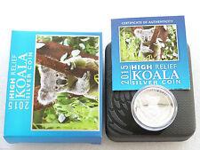 2015 Australia Koala High Relief $1 UN DOLLARO ARGENTO PROOF 1 OZ (ca. 28.35 g) MEDAGLIA BOX COA