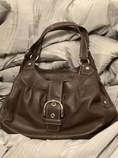 Coach- brown leather hobo shoulder handbag- accordian style pockets