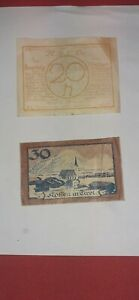 2 Austrian notes 20 Heller/ city view. 30 Heller /Tyrol Both1920. Pre Owned.
