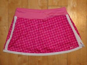 NIKE Womens DRI-FIT Medium M Tennis Skort w Base Compression Shorts HOUNDSTOOTH
