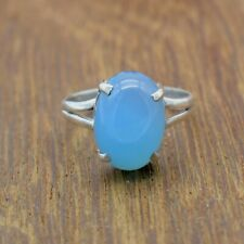 Solid 925 Sterling Silver Blue Chalcedony Ring Jewelry Various Sizes TR-232
