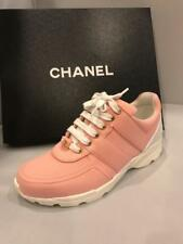 CHANEL 17C Salmon Pink Canvas Fabric Leather Tennis Sneakers Kicks Shoes $950