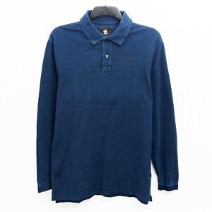 G STAR RAW Starkon Polo T Men's M Shirt Sweatshirt long Sleeve Blue Cotton Top