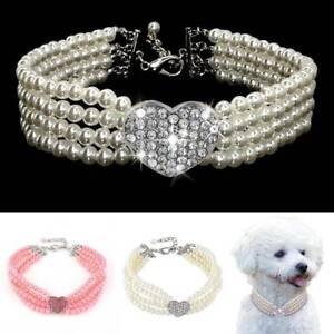Dog Collar Pearl Rhinestone Bling Necklace Diamante Heart Pet Puppy Cat UK Stock