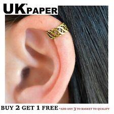 NEW GOLD CRISS CROSS EAR CUFF UPPER HELIX CARTILAGE CLIP-ON EARRING GOTH PUNK UK