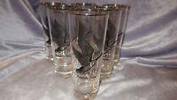 Vintage Ice Tea Glasses Coolers Game Bird theme Canadian Goose platinum 6