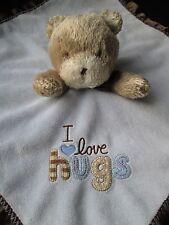 Carters Child Of Mine Security Blanket Lovey Blue I Love Hugs Bear Brown Plush