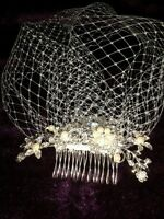 "New Brides Ivory birdcage veil 9"" with pearl and diamante flower comb fascinator"