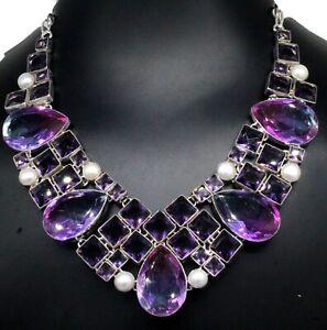 925 Sterling Silver Tourmaline & Amethyst Gemstone Jewelry Necklace Size-17-18''