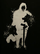 Game of Thrones John Snow Silhouette Wolves Black 3XL T-Shirt Stark Bastard NWOT