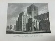 """1814 NORTH WEST VIEW OF HEREFORD CATHEDRAL ENGRAVED PRINT 5.5"""" x 8.75"""" (LL)"""