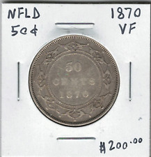 Canada Newfoundland NFLD 1870 Silver 50 Cents VF