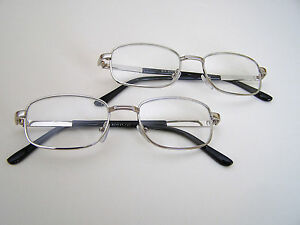 Silver Color Frame,  Real Glass Lens Reading Glasses Two Pairs  +1.00