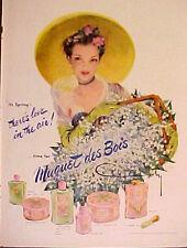 1951 Muquet Des Bois~COTY~Perfume Women~Hat~Flowers~Basket~CYDNEY~Art Print AD