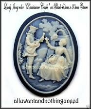 2 IVORY color 3/D RENAISSANCE COUPLE on BLACK 40mm x 30mm Costume Jewelry CAMEOS