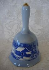Collectible Currier & Ives Cobalt Blue Scenic Hand Bell