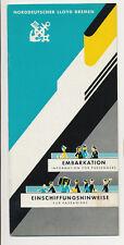 1962 North German Lloyd Embarkation Information for Passengers Brochure