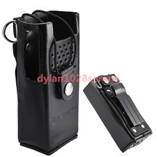 Hard Leather Carrying Case For Motorola 2-Way Radio GP88 GP300 GTX800