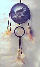 New Grey Wolf On Rock Dream Catcher Mandella Turquoise Stone Beads & Feathers