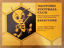 Watford v Brentford 1972/73 programme