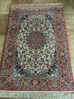 """Fine Hand Knotted Vintage Floral Per/sian Fine Silk and Wool 3' 7"""" x 5' 3"""" Rug"""