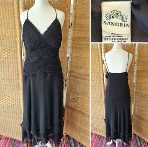 Sangria Vintage 90s Flamenco Black Witchy Pagan Strappy Slip Party Dress 12