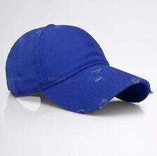 Vintage Distressed 100% Cotton Solid Polo Denim Baseball Cap Hat Ball Dad  Washed cda4860e2d48
