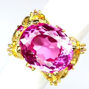 TOPAZ PLATINUM PINK OVAL 27.30CT.SAPP RUBY 925 STERLING SILVER GOLD RING SZ 6.75